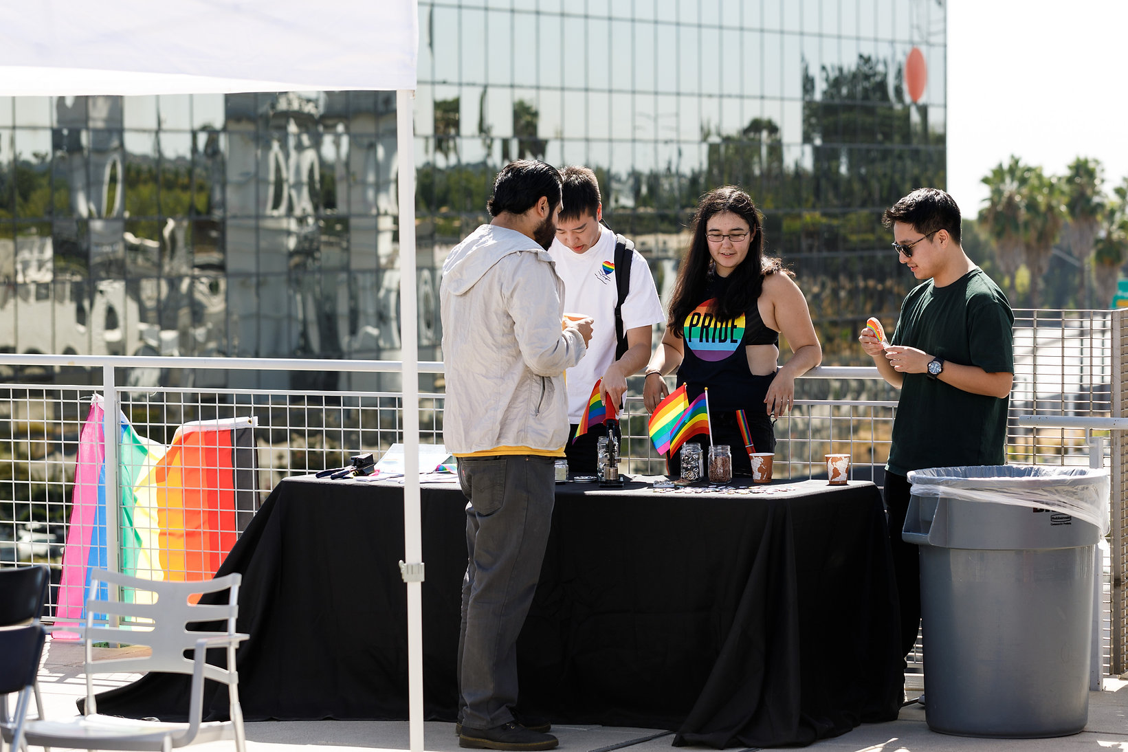 National Coming Out Day and Rainbow Flag Raising Ceremony held at ArtCenter College of Design South Campus rooftop