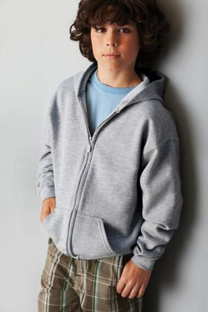 GILDAN® HEAVY BLEND™ FULL ZIP HOODED YOUTH SWEATSHIRT.