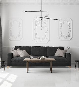 квартира черно - белая, минимализм, лофт