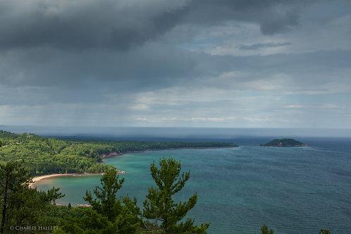Rain storm over Lake Superior