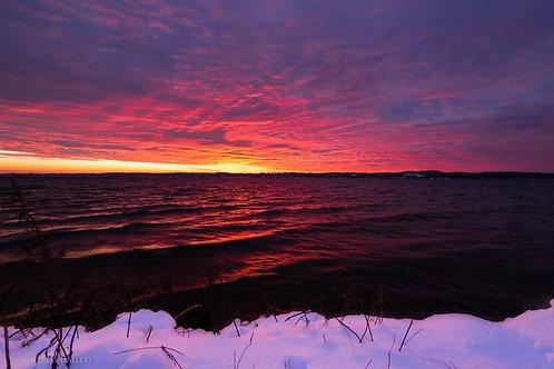 Torch Lake Winter Sunset