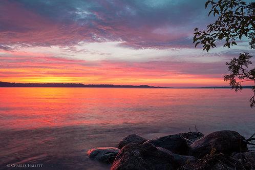 Torch Lake Sunset and Rocks