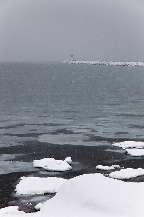 Snowy Upper Harbor Lighthouse