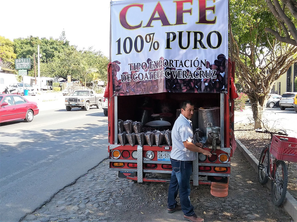 Buying fresh ground coffee right off the truck in Ajijic
