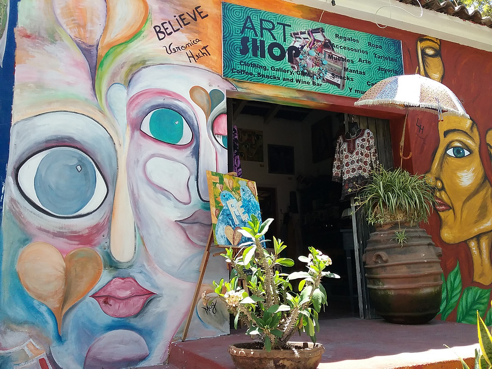 Brightly clolored art shop downtown Ajijic, Mexico