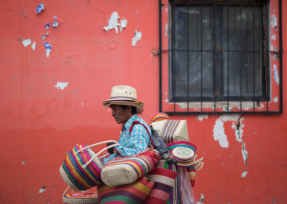 A basket vendor along Ajijic streets