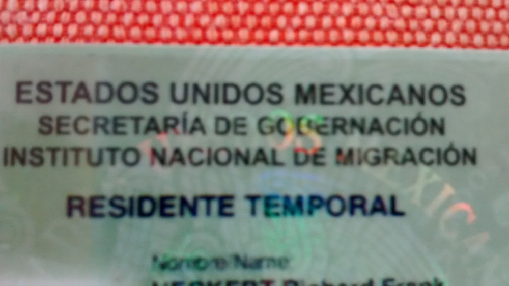 Residente Temporal Visa Card Mexico