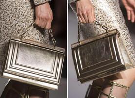 Empire Bag embossed frame - gold laminated calf