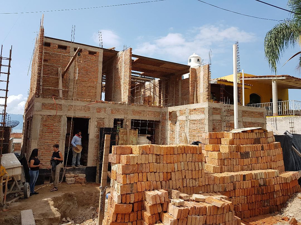 House under construction in Ajijic, Mexico