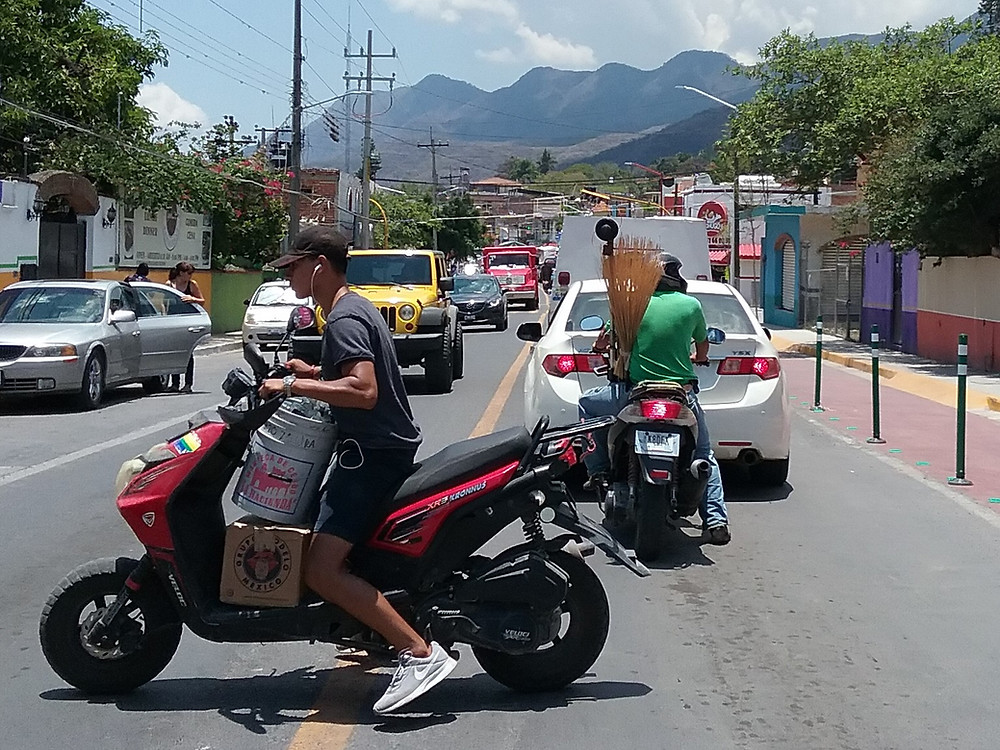 Chaotic motorcycle traffic in Ajijic