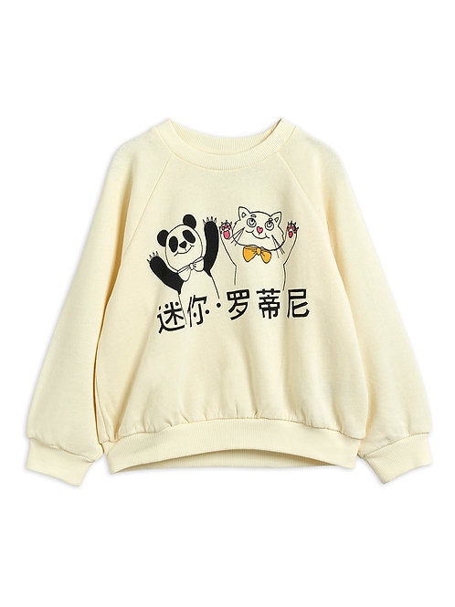 Sweat cat&panda white Mini Rodini