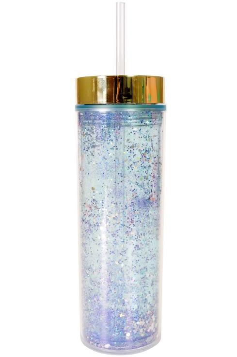 Skinny Glitter Tumbler - Blue