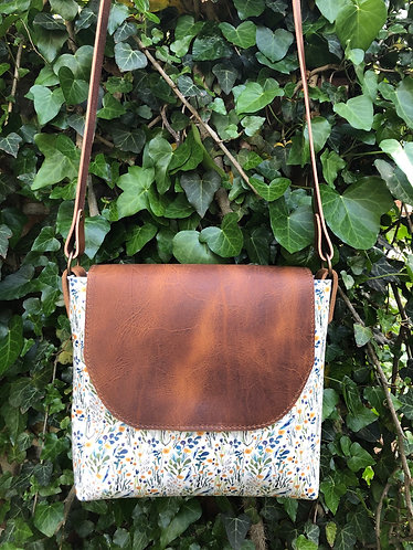 Green floral leather crossbody
