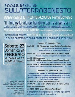 Locandina Formazione Trento 23-24 febbra