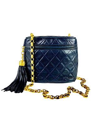 Chanel Vintage Dark Blue Lambskin Bag