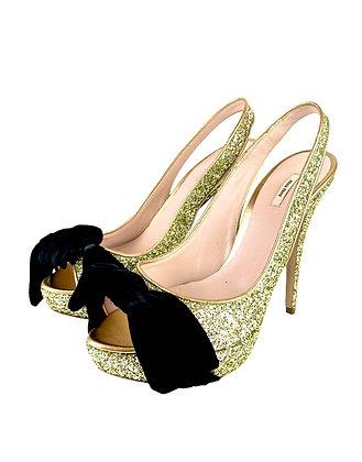 Miu Miu Gold Glitter Slingback Peep-Toe Pumps