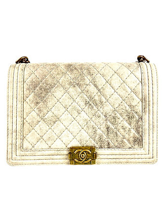 Chanel Beige Quilted Distressed Suede Large Boy Flap Bag