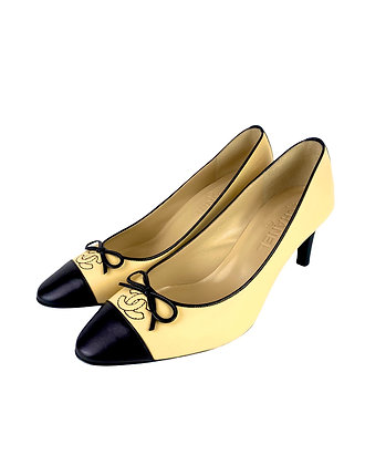 Chanel Beige and Black Leather Pumps