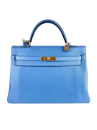 Hermès Kelly 35 Retouné Bleu Du Nord Togo
