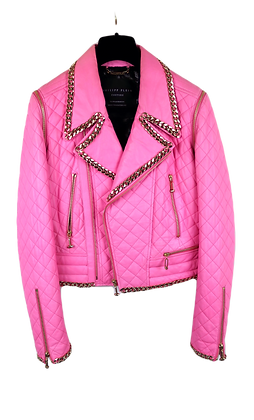 Philipp Plein Couture Leather Jacket Pink