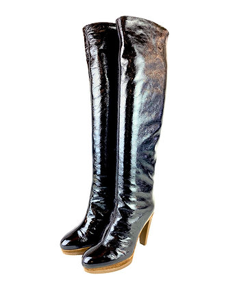 Sergio Rossi Patent Leather Overknee Boots
