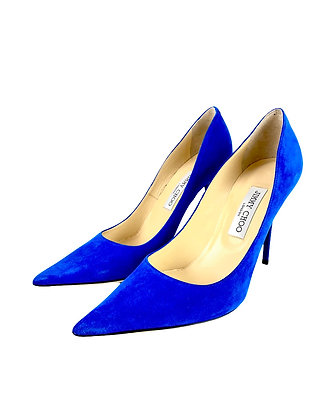 Jimmy Choo Anouk Blue Suede Pointy Toe Pumps