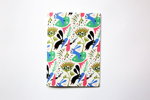 Handmade notebook - Cream rabbits