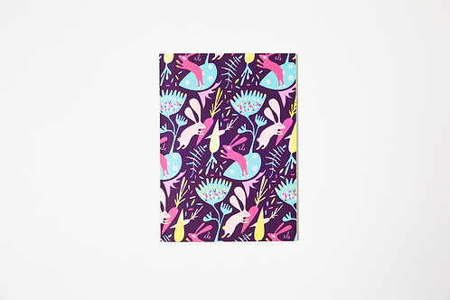 Handmade notebook - Purple Rabbits