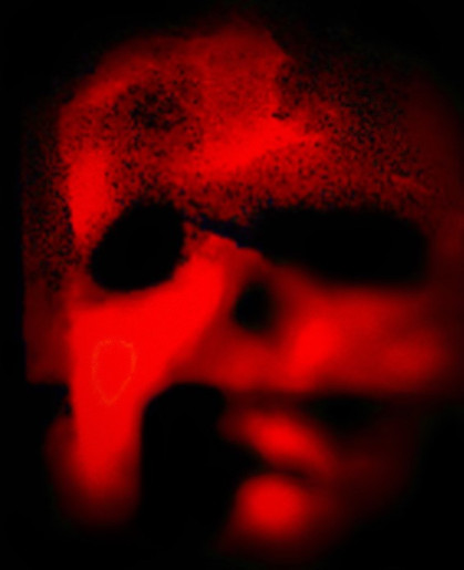 Abstract red skull face.
