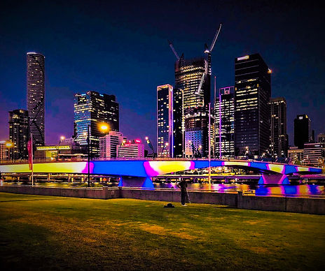 Brisbane in southbank. Overlooking the central business district. Skyscrapers in the background.