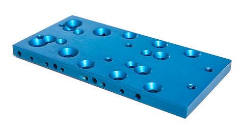 Machined part – aluminum, blue anodized