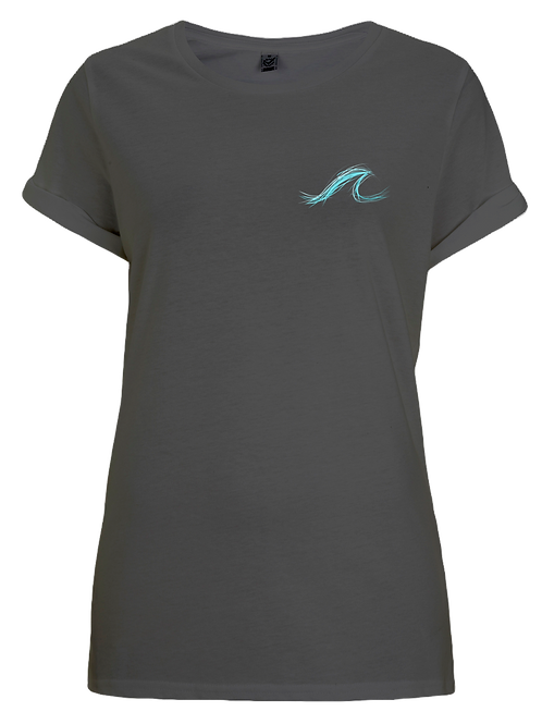 Wave Rolled Sleeve Tshirt Black
