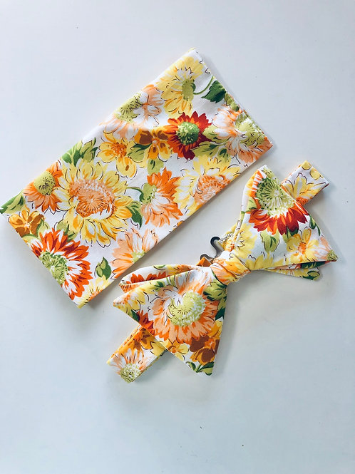Yellow Sunflower Print Bow Tie and Pocket Square Set