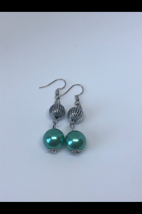 Silver and Sea Green Drop Earrings