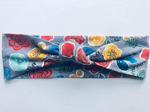 Handmade Grey Floral Knotted Headband