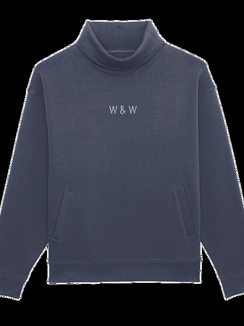 W & W Strider Roll Neck Sweatshirt India Ink Grey