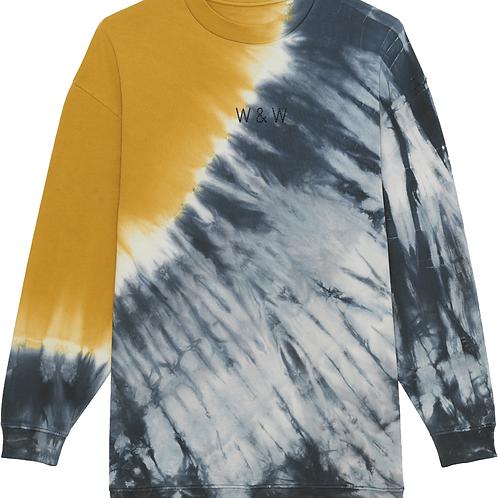 W & W Firer Tie Dye Sweatshirt Grey/Ochre