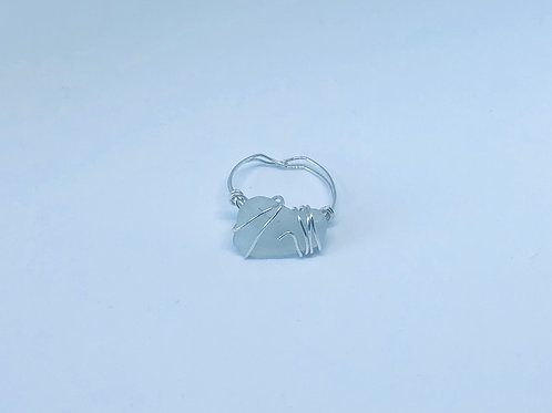 Clear Sea Glass Wire Wrapped Ring