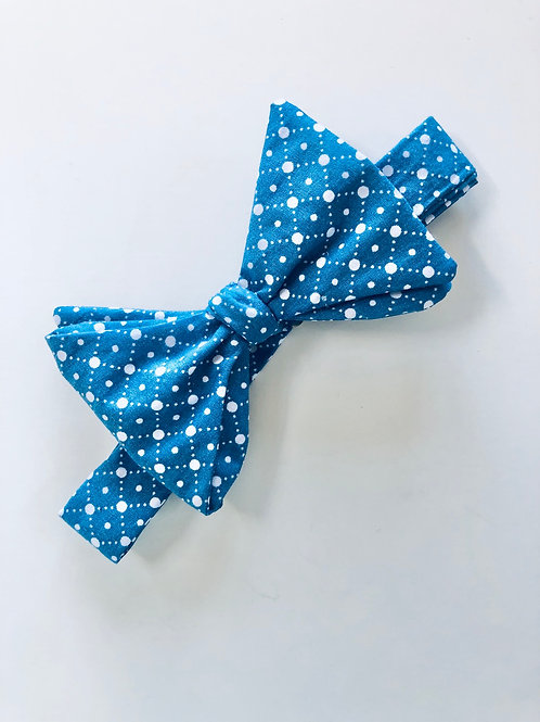 Blue and White Print Bow Tie