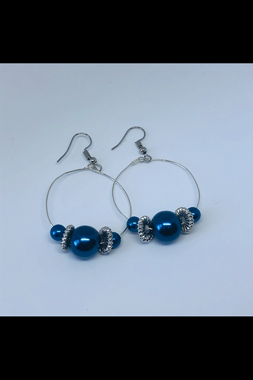 Navy and Silver Hoop Earrings