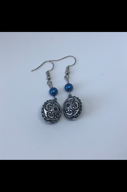 Silver and Navy Drop Earrings
