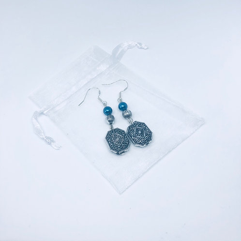Silver and Navy Drop Earrings - Sterling Silver