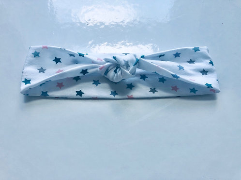 White Star Print Knotted Headband