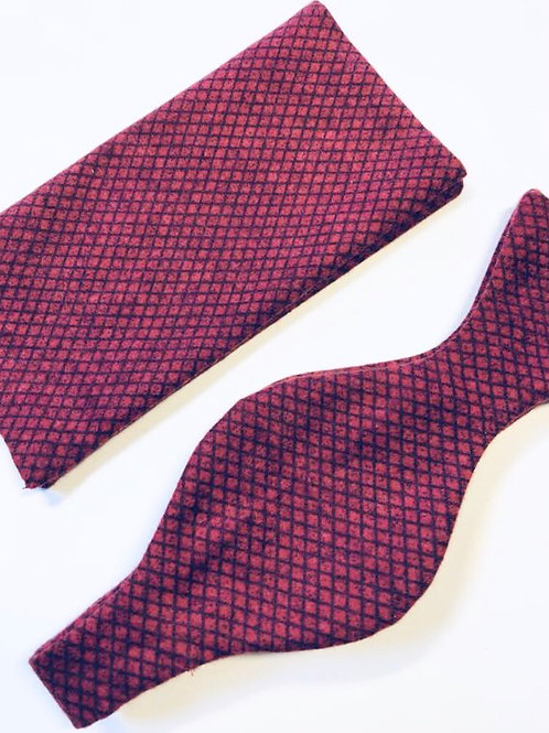 Dark Red Felt/Flannel Bow Tie and Pocket Square Set