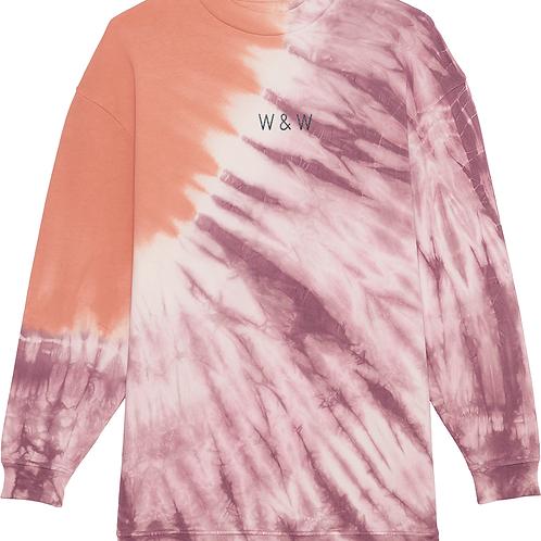 W & W Firer Tie Dye Sweatshirt Mauve/Rose Clay
