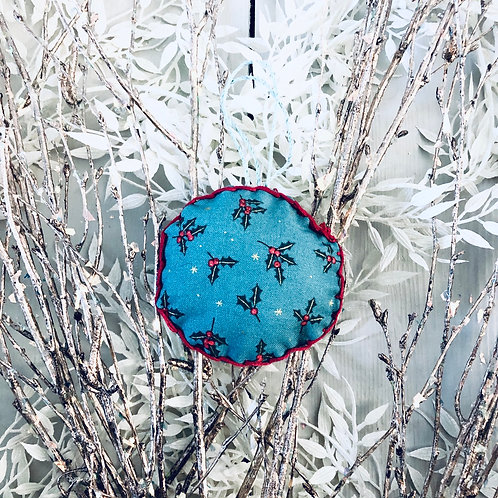 Blue Holly Bauble