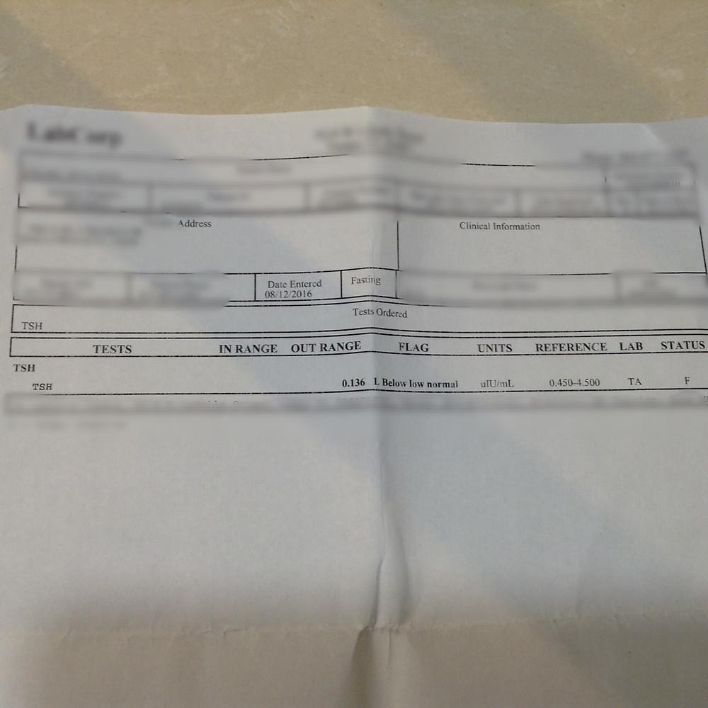 Blood Test, Aug 2016, TSH=0.136