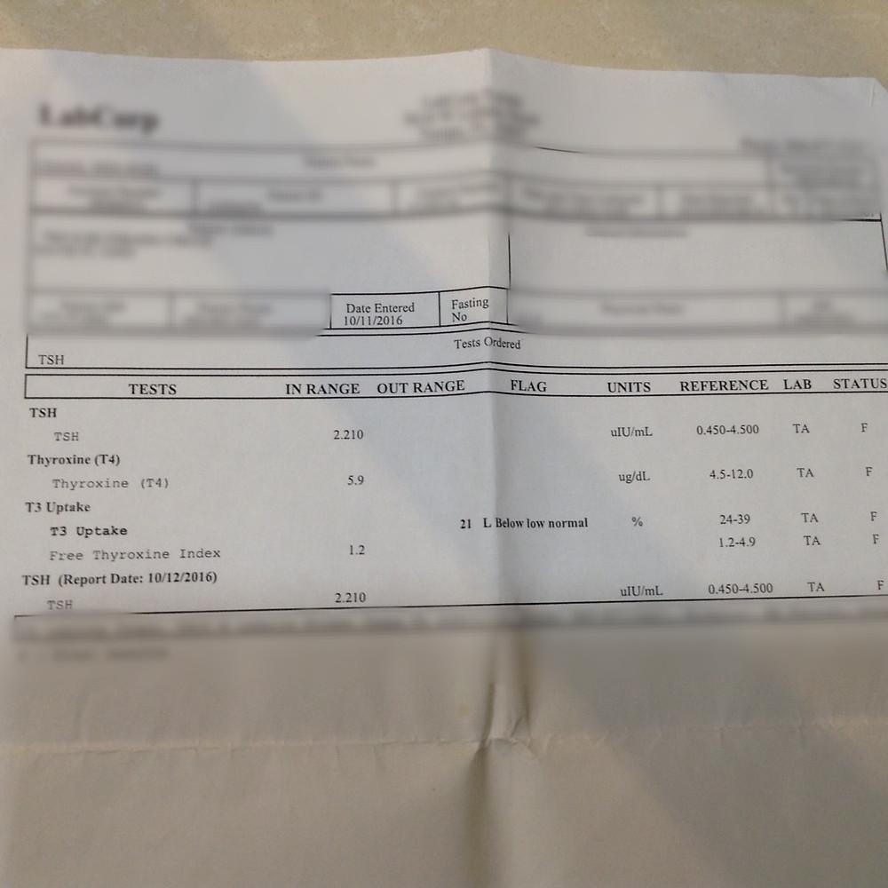 Blood Test, Oct 2016, TSH=2.21