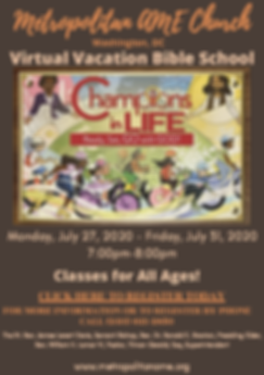 Vacation Bible School Revised Flyer 2020