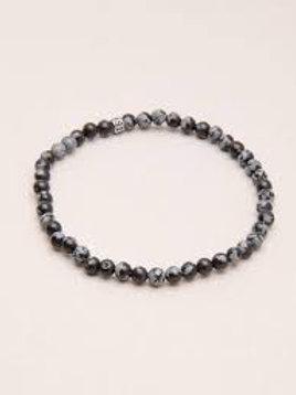 SnowFlake Obsidian 4mm Bracelet